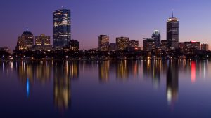 Boston skyline at twilight from the harbor