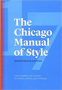 The cover of the 17th edition of the Chicago Manual of Style, a blue background with a lighter blue 17 across the cover.