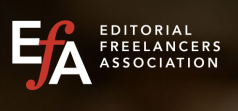 The logo fro the Editorial Freelance Association, the letters EFA