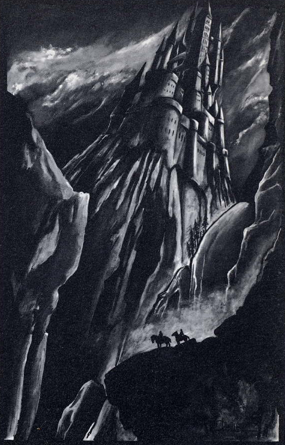 Black and white drawing of Dracula's castle, with an eerie shadow of Dracula on the cliff below