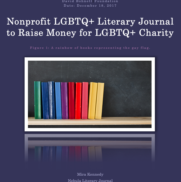 Cover page for grant proposal, purple background with a picture of a rainbow of books