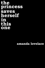 "The cover of ""the princess saves herself in this one"", white text on black"