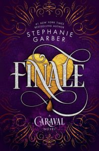 Cover of Finale, gold heart on a purple background with swirling font and silver scrolling around the edges