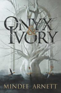 Cover of Onyx and Ivory, a white tree with three decorative swords stuck in the ground in front of it